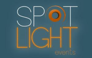 Spotlight Events wedding bands Cork Ireland logo on blue background